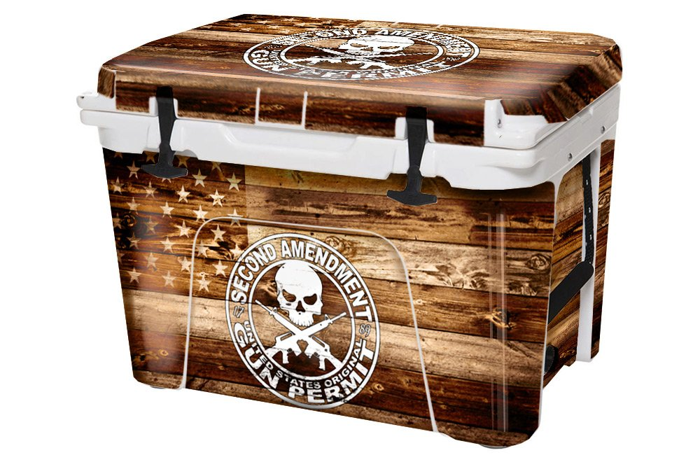 USATuff Wrap (Cooler Not Included) - Full Kit Fits YETI 45qt Tundra - Protective Custom Vinyl Decal - 2nd Amendment Flag Wood by USATuff