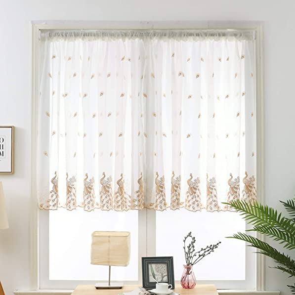 WYE Peacock Embroidered Sheer Valance