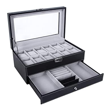SONGMICS 12 Slots Watch Box Mens Watch Organizer Lockable Jewelry Display Case with Real Glass Top Black Faux Leather UJWB012