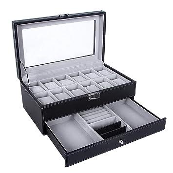 0c2db22a4 Amazon.com: SONGMICS Watch Box 12 Mens Watch Organizer Jewelry Display Case  with Lock and Keys Black UJWB012: Clothing