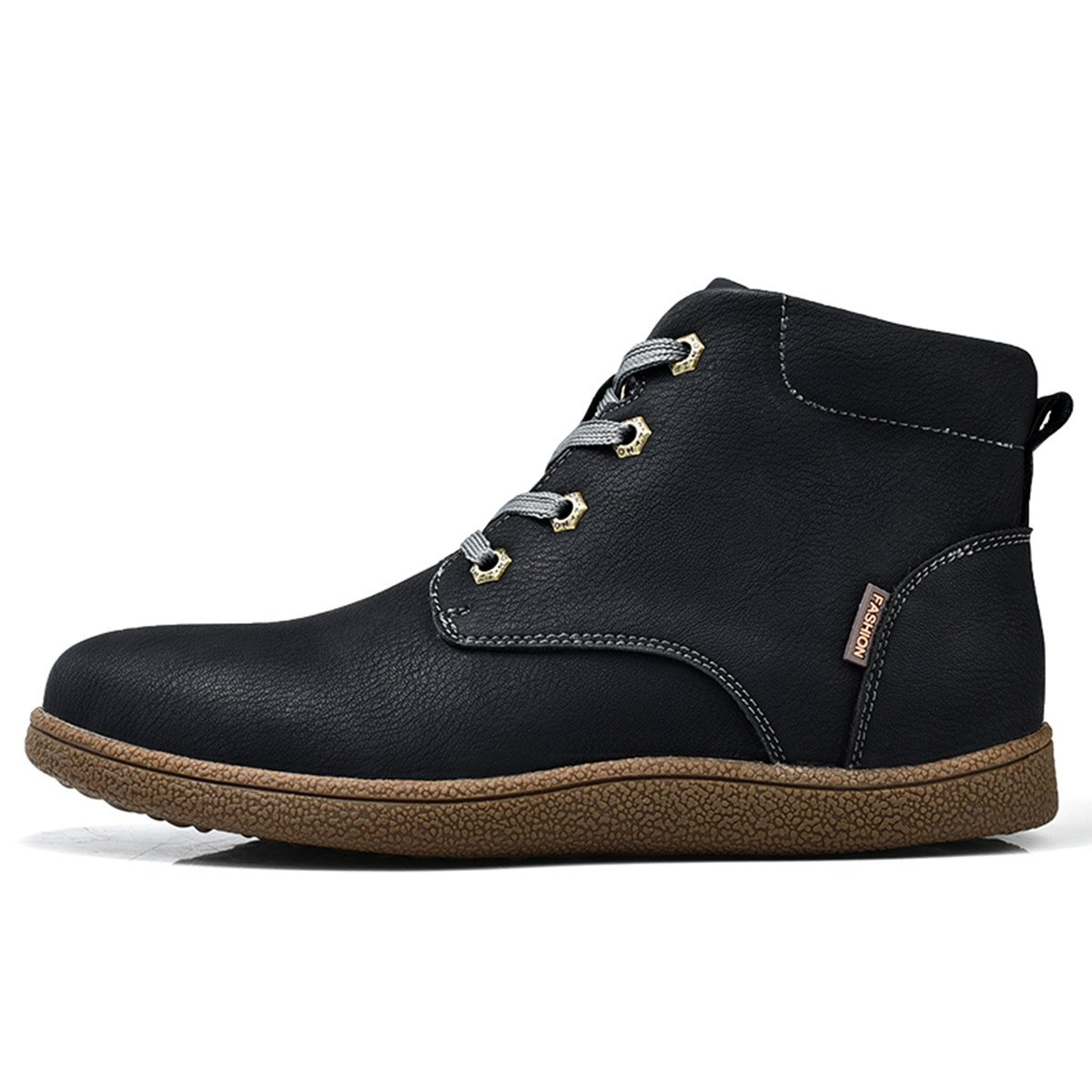 Gracosy Martin boots for Men, Men's Fashion Leather Lace up Boots Winter Cotton Lining Shoes Waterproof Boots Black Tag 43 by Gracosy (Image #3)