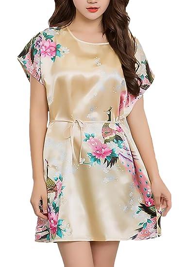 Pijamas Mujer Corto Verano Manga Corta Cuello Redondo Elegante Vestido Pijama Homewear Cinturón Impresión Camison Floral Ropa Dama Moda Fashionista Casuales ...