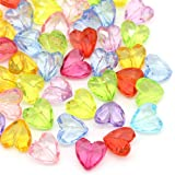 100 pcs Mixed Color Heart Beads Transparent Acrylic Beads Heart Shape for Jewelry Making 12x12mm