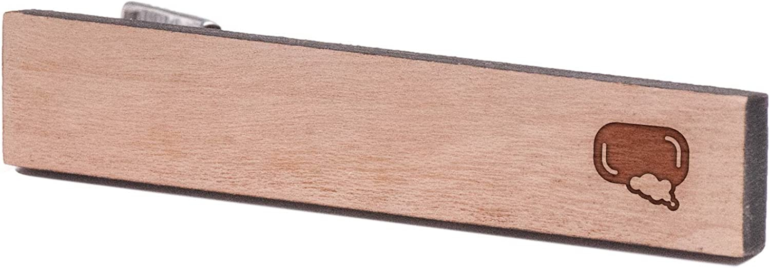 Wooden Accessories Company Wooden Tie Clips with Laser Engraved Soap Bar Design Cherry Wood Tie Bar Engraved in The USA