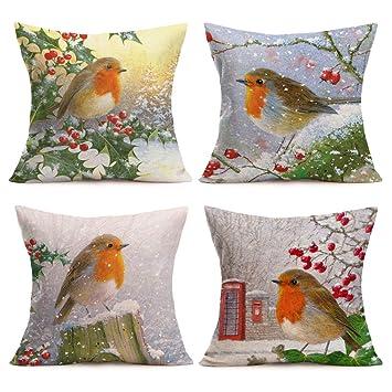 Amazon.com: Asamour - Juego de 4 fundas de almohada de lino ...