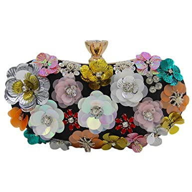 Zhhlaixing Schöne Handtasche Handmade Flowers Beads Embroidery PU Bags Packs High Grade Pearl Rhinestones Evening Designer Handbags für Frauen tyQXN1m