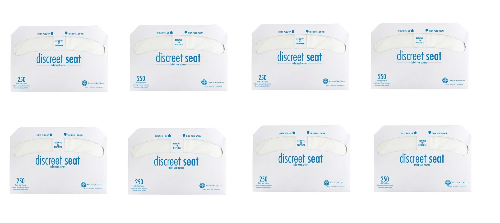 Discreet Seat DS-1000 Half-Fold Toilet Seat Covers, White (4 Pack of 250) (2 cases (1000 Covers))