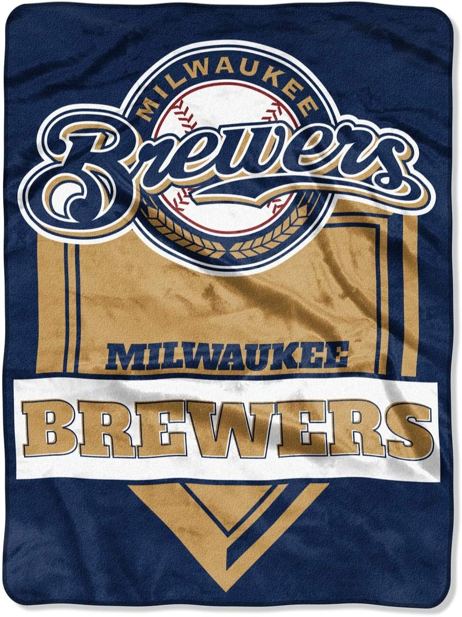 Northwest MLB Milwaukee Brewers Royal Plush Raschel Throw, One Size, Multicolor