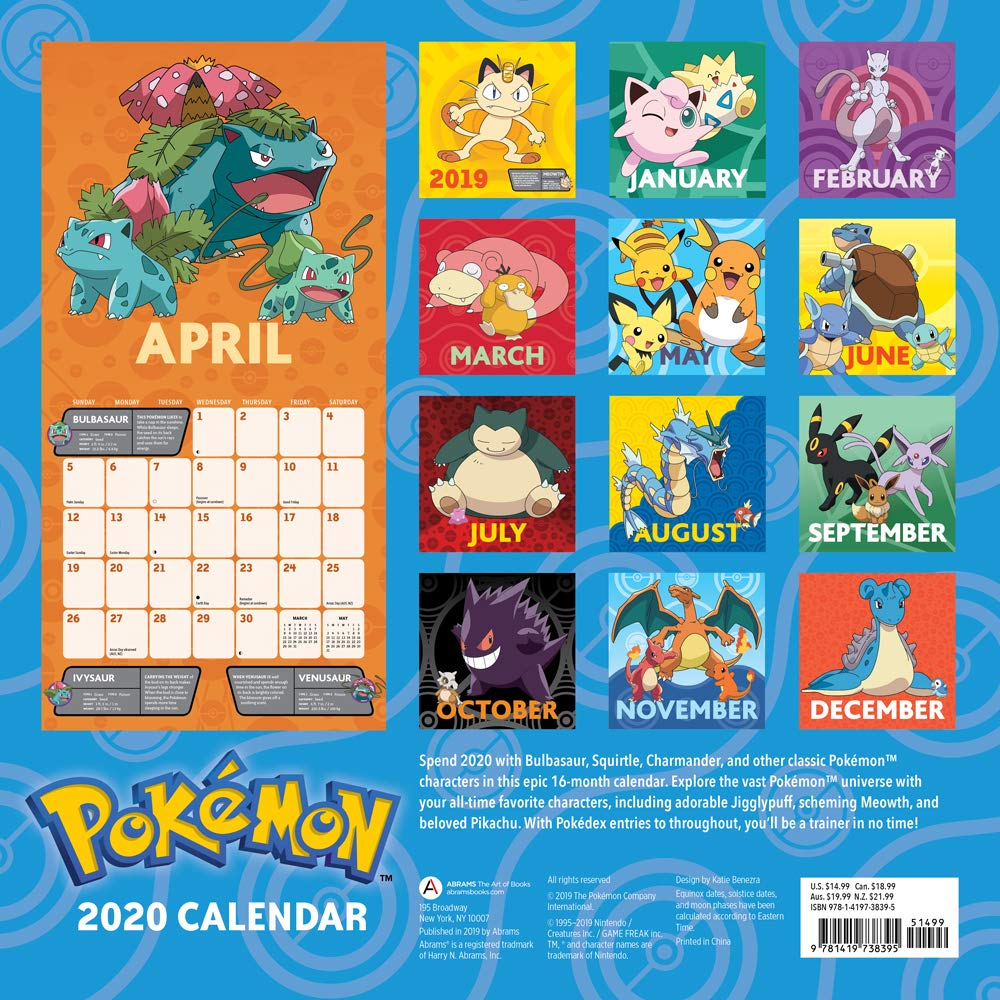 Pokemon Calendar 2020 Buy Pokemon 2020 Wall Calendar Book Online at Low Prices in India