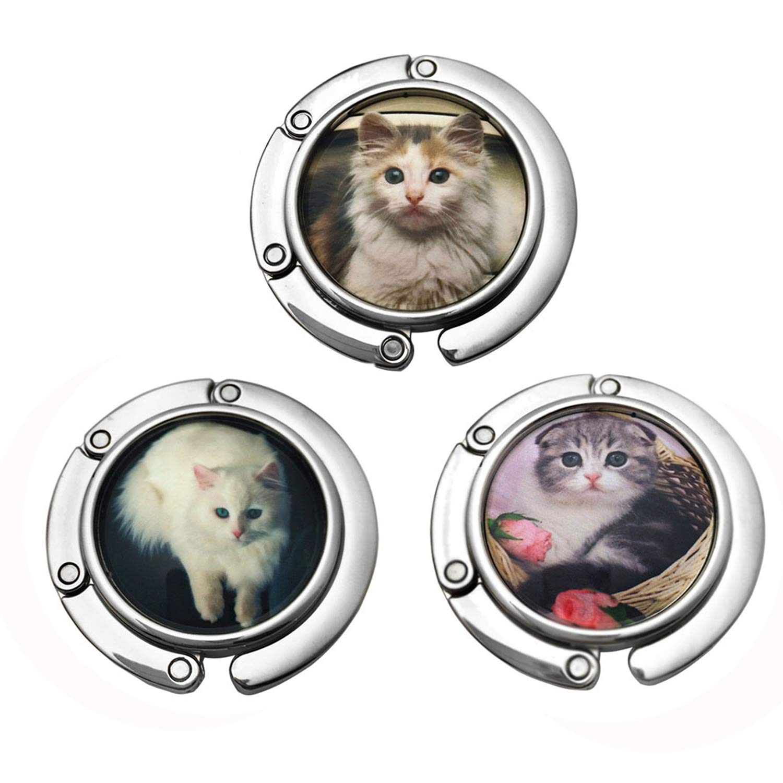 GuaziV 3pc Theme Designed Shoulder Handbag Folding Purse Holder Hangers Hooks Set(Cats) (Style 3)