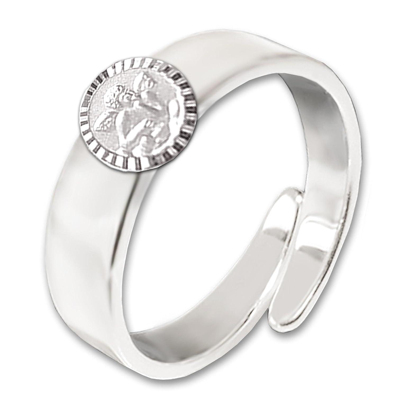 Clever Schmuck enfants réglable Bague argent 925brillant Ange Classique forme ronde satiné avec bord brillant diamantée dans un étui