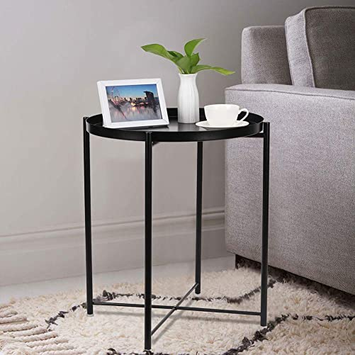 Folding Metal Tray End Table,Round Sofa Side Coffee Table,Black Side Table 18.7″ D x 20.9″ H