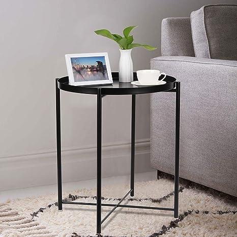 Remarkable Folding Metal Tray End Table Round Sofa Side Coffee Table Black Side Table Inzonedesignstudio Interior Chair Design Inzonedesignstudiocom