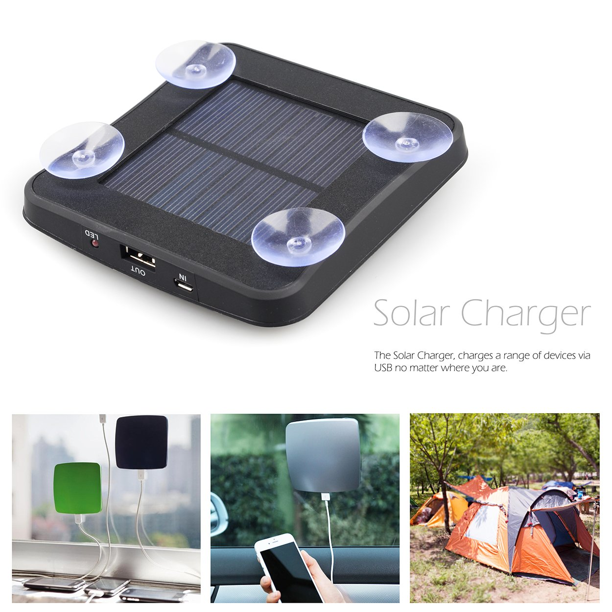 Solar Window Charger with Suction Cups,1800mAh Quick Power Bank Portable w//USB Sticks Windows for iPhone,Android Phones by LC Prime iPods MP3 Digital Cameras Plastic Black MP4