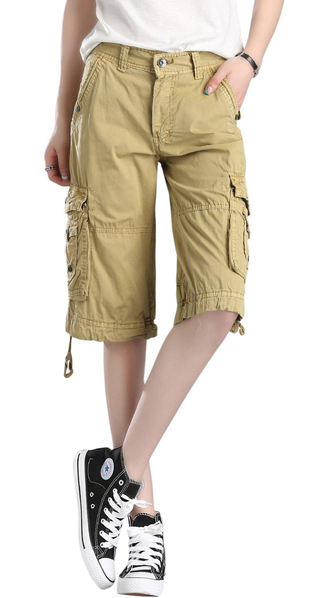 Chouyatou Women's Casual Multi-Pockets Sports-Wear Knee Length Cargo Shorts (XX-Large, Khaki)