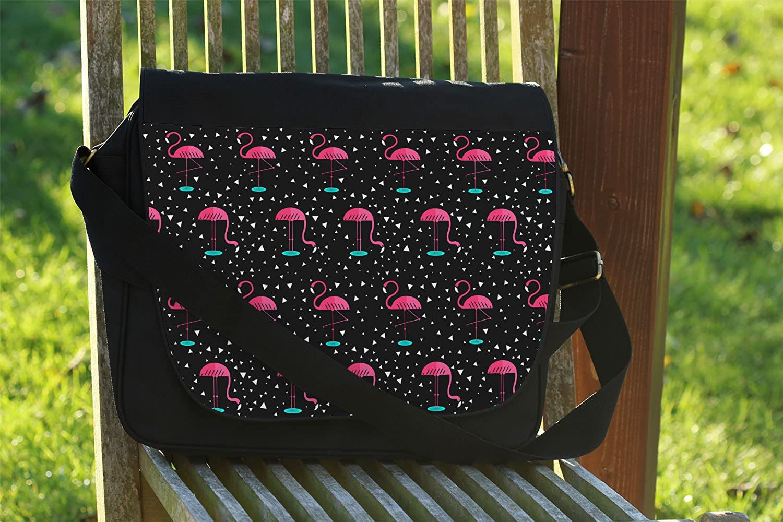 Cross Body Laptop School Work Bag Pink Flamingos Messenger Bag