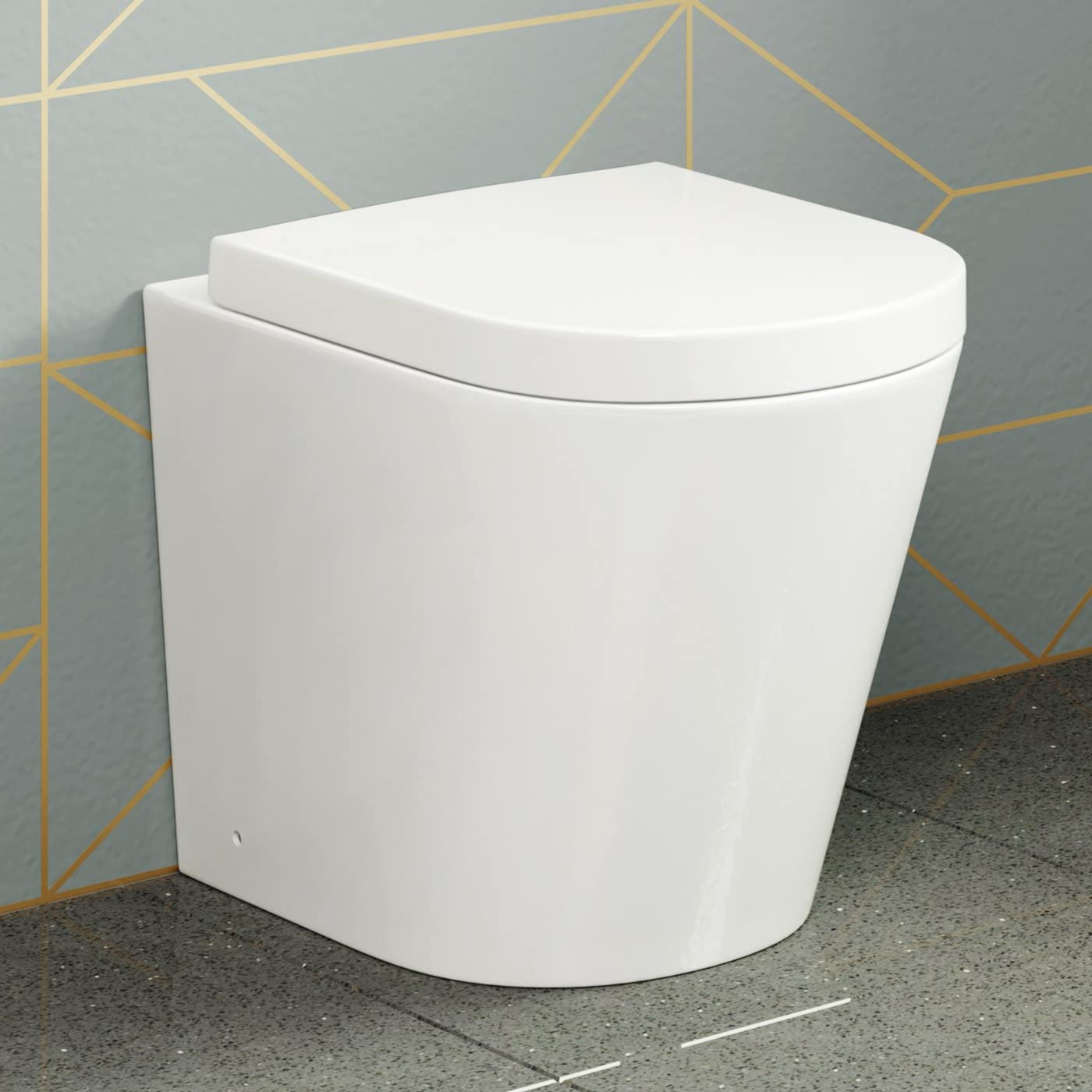 Modern Back To Wall Toilet Pan & Seat White Ceramic Bathroom WC CT632BTW