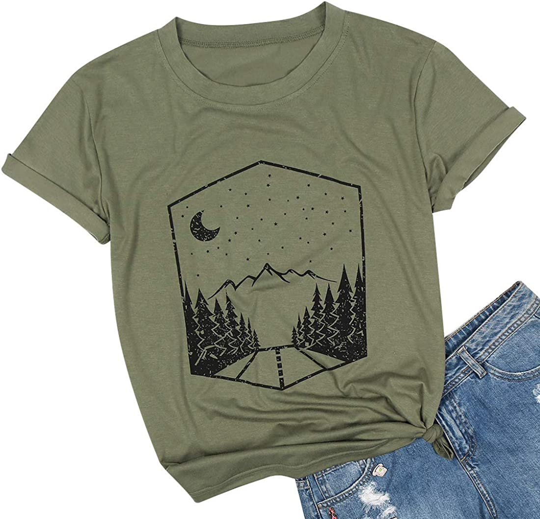 Mountain Graphic T Shirt Women Outdoor Nature Hiking Camping Shirt Tee Short Sleeve Hiker Tee Tops