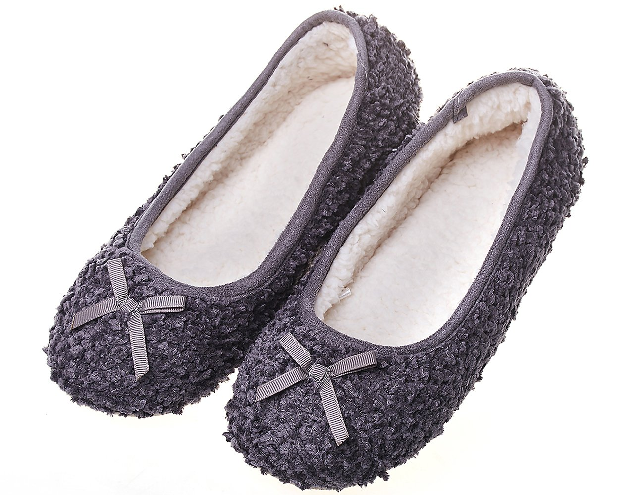 MIXIN Women's Elegant Comfy Litchi Cashmere Soft Sole Indoor Ballerina Flats House Slippers Dark Grey Size 7