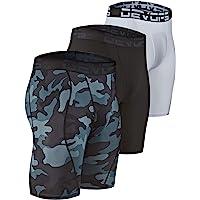 DEVOPS Men's 3 Pack Sports Performance Active Compression Cool Dry Baselayer Pocket Shorts
