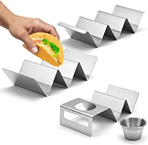 HLTHHome Taco Holders Stainless Steel Taco Stand Up Holder Taco Plates Taco Trays with Sauce Bowl for Oven Grill Dishwasher