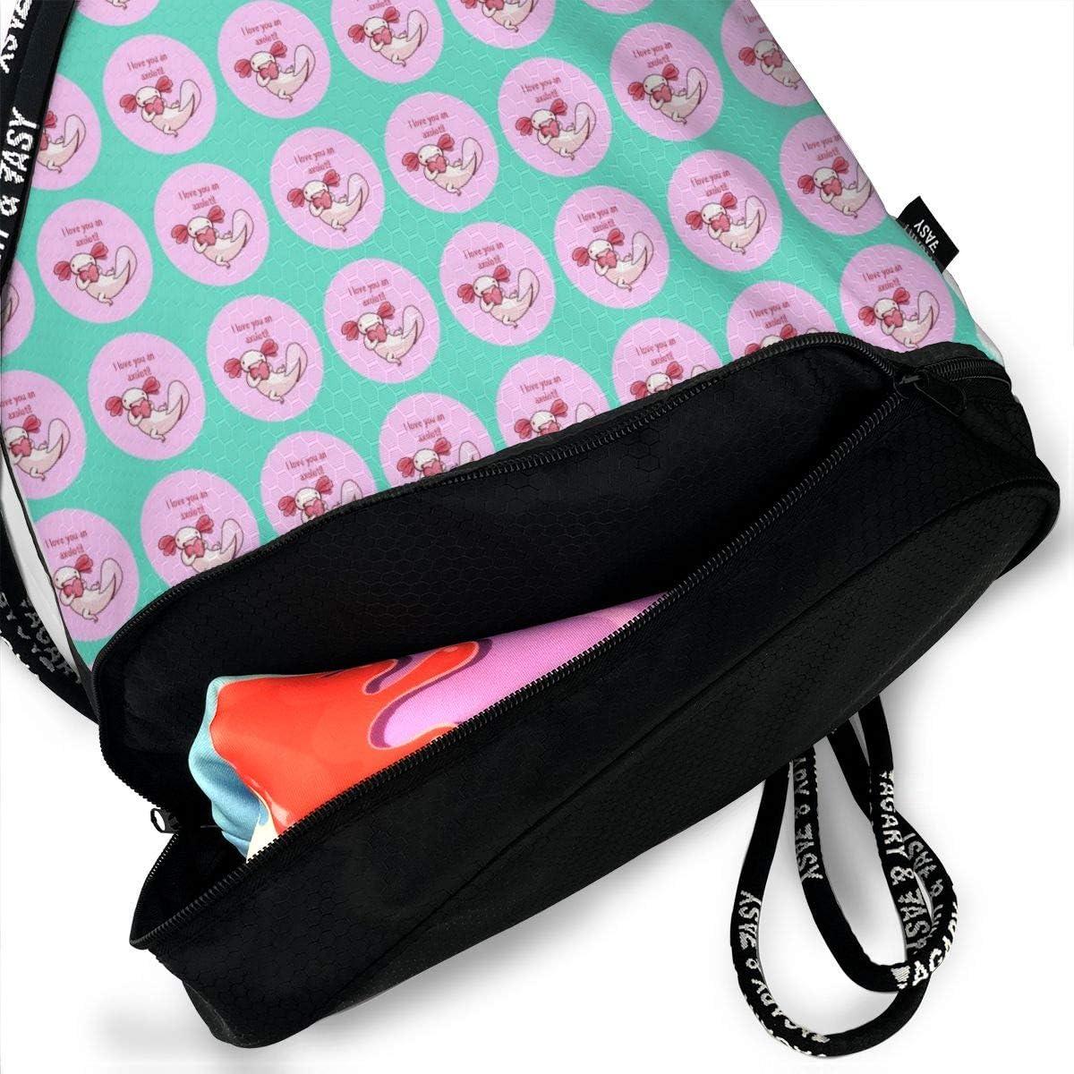 Love Axolotl Heart Cinch Backpack Sackpack Tote Sack Lightweight Waterproof Large Storage Drawstring Bag For Men /& Women