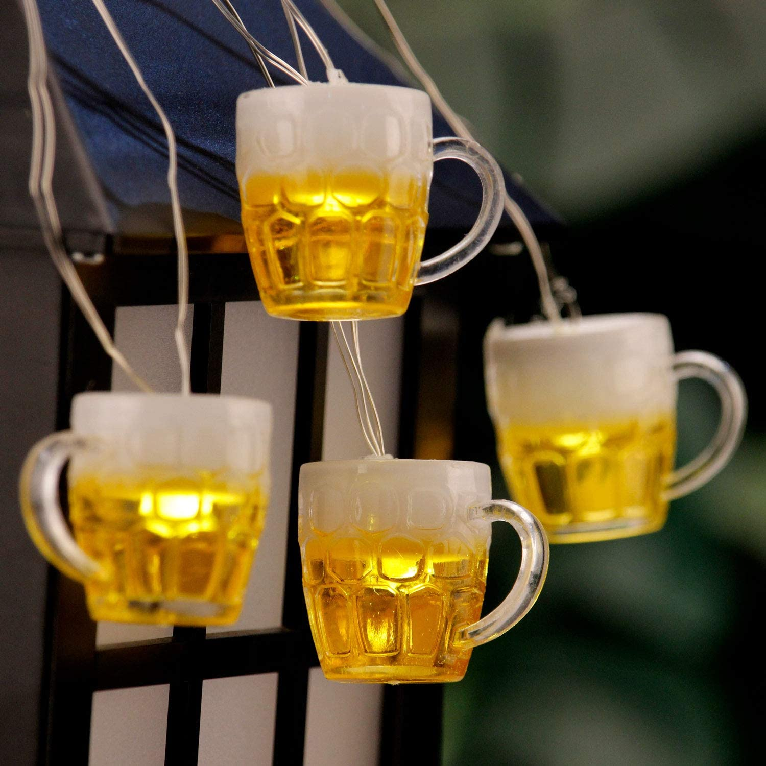 3D Beer Mug String Lights St Patrick's Day Decor, 10ft 15 LED with Remote Control USB & Battery Powered for Bar Christmas Birthday Wedding Party Bedroom Dorm Wreath Summer Club Decorations