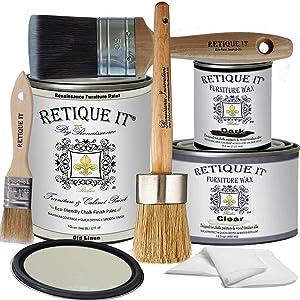 Retique It Chalk Furniture Paint by Renaissance Deluxe Starter Kit, Wax, 22 Old Linen, 32 Ounces