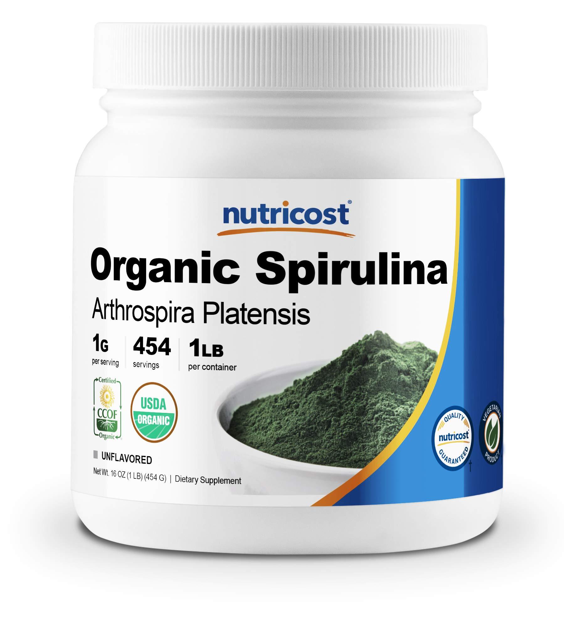 Nutricost Organic Spirulina Powder 454 Grams (1LB) - 1g Per Serving, 454 Servings