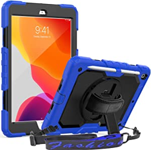 SEYMAC iPad 8th/7th Generation Case, iPad 10.2 inch Case 2020/2019 [360 Rotatable Hand Strap/Kickstand Case] [Full-Body Protection] iPad 8 2020, iPad 7 2019 Cover with Screen Protector (Blue/Black)