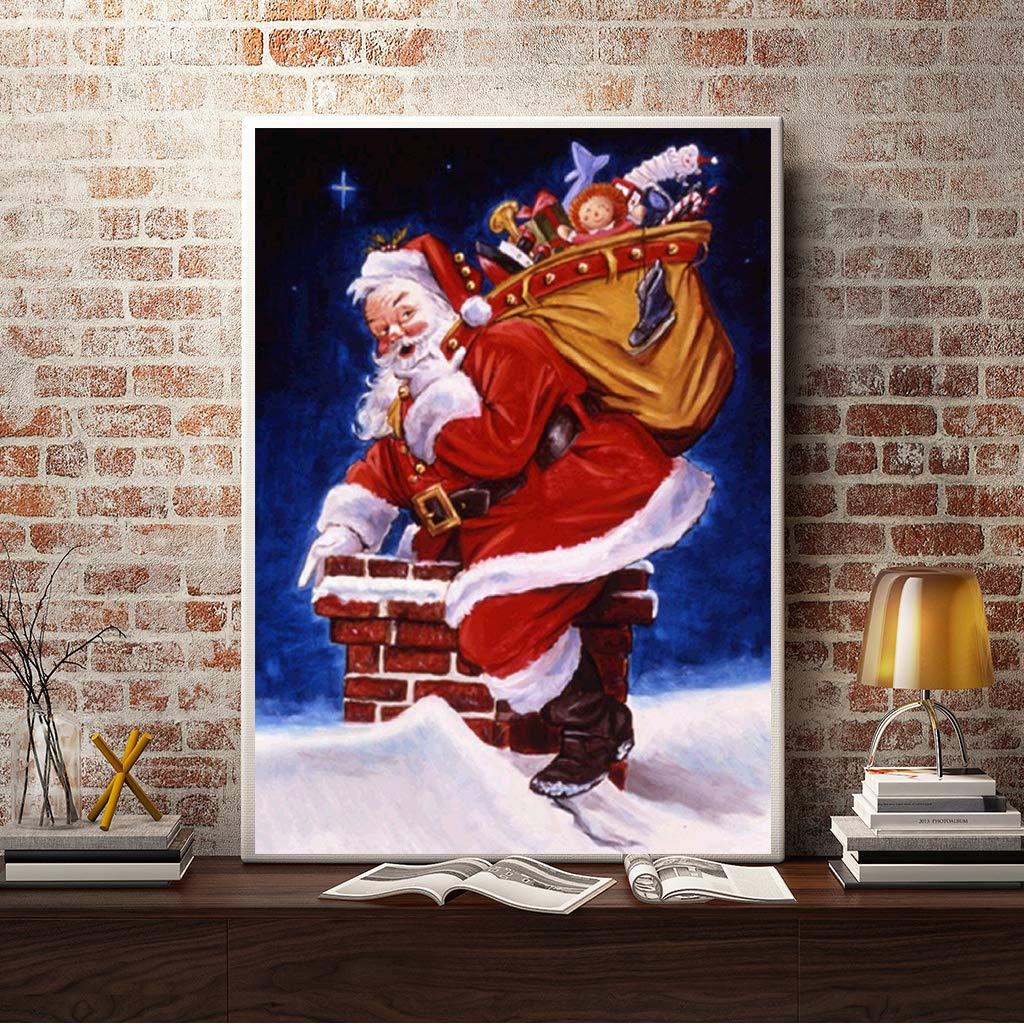 Santa Claus por Chimney square diamond painting punto de cruz bordado suministros de arte manualidades lienzo decoraci/ón de pared 30 x 40 cm Pintura de diamantes de navidad 5D cuadrados