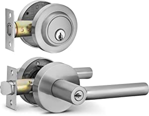 Berlin Modisch Entry Lever Door Handle and Single Cylinder Deadbolt Lock and Key Sleek Round Locking Lever Handle Set [Front Door or Office] Right & Left Sided Doors Heavy Duty – Satin Nickel Finish