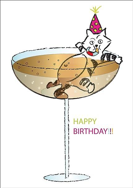 Carte De Voeux Anniversaire Carte D Anniversaire Drole Avec Un Chat Qui Se Baigner Dans Un Verre De Champagne Happy Birthday Avec Enveloppe Amazon Fr Fournitures De Bureau