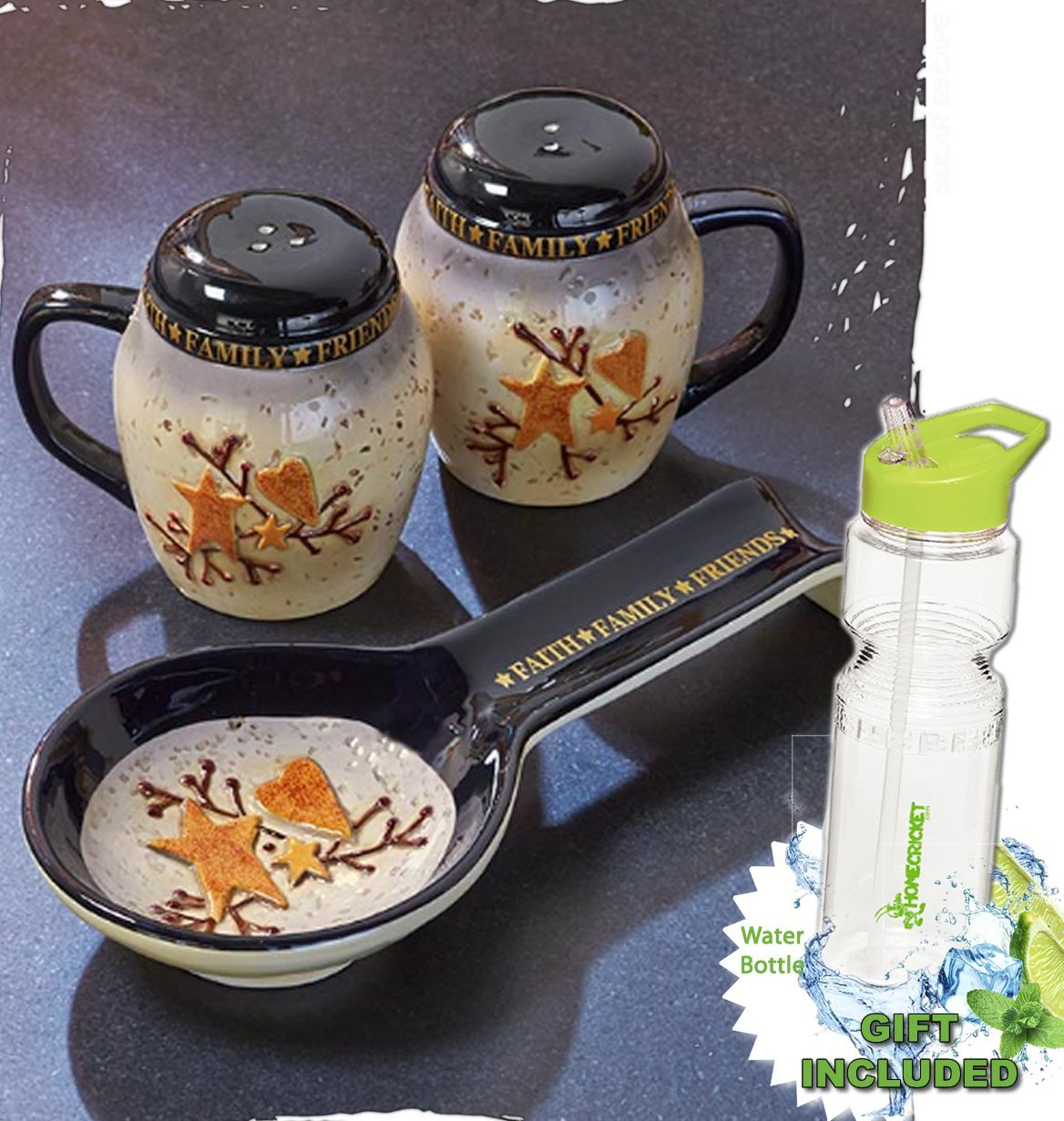 Gift Included- Country Kitchen Hearts and Stars Salt & Pepper Spoon Rest Set + FREE Bonus 23 oz Water Bottle byHomecricket
