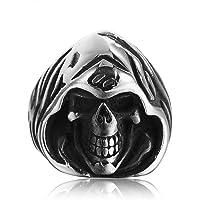 Ianlex ステンレスリング 指輪 メンズ シルバー ブラック 頭蓋骨 スカル メンズ リング 指輪
