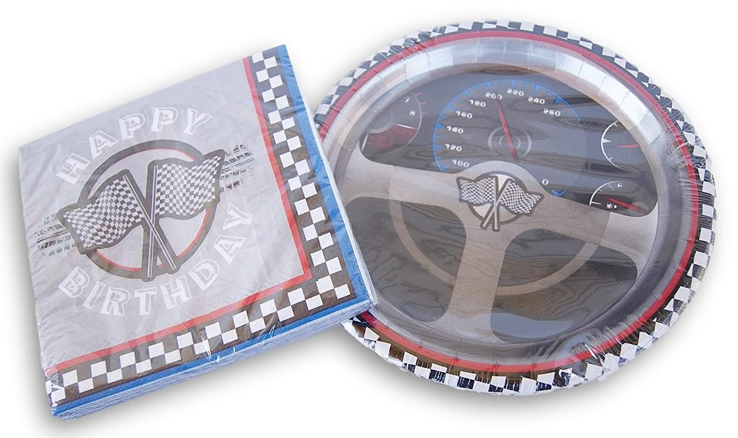 Racecar Birthday Party Patterned Supply Kit Dinner Plates and Napkins Paper Art