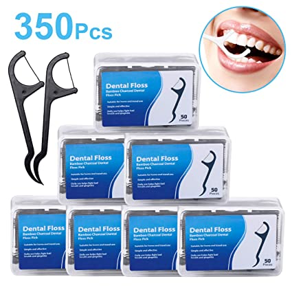 Hilo dental 350 unidades dientes seda Sticks Bamboo Charcoal Dental Floss 7 Paquete (50Tlg.