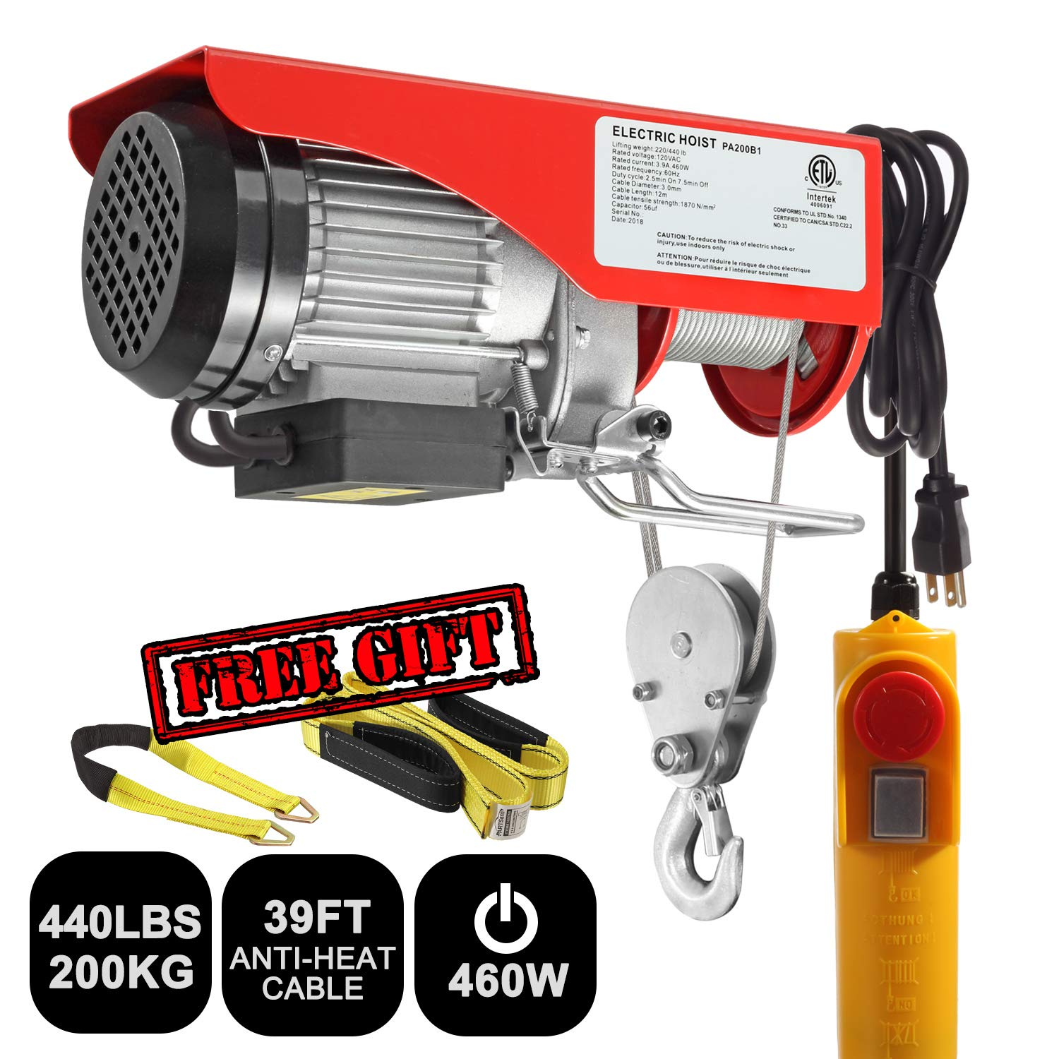 Partsam 440 lbs Lift Electric Hoist Crane Remote Control Power System, Zinc-Plated Steel Wire Overhead Crane Garage Ceiling Pulley Winch w/Premium Straps (UL/CUL Approval, w/Emergency Stop Switch) by Partsam