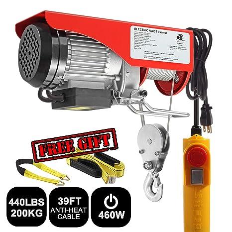 Partsam 440 lbs Lift Electric Hoist Crane Remote Control Power System,  Zinc-Plated Steel Wire Overhead Crane Garage Ceiling Pulley Winch w/Premium