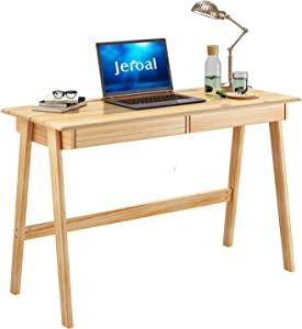 JEROAL Computer Writing Desk, Wood Study Desk Homework Desk, Table Desk for Home Office with 2 Storage Drawers and Durable Wood Frame, Natural Wood