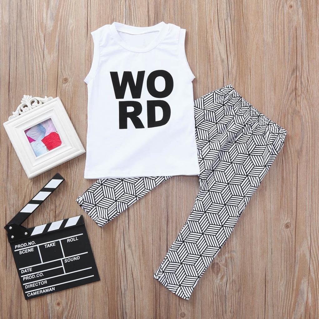 Dinlong Baby Boy Girl Clothes Set Letter Print Top T Shirt Shorts Pants Siblings Outfit