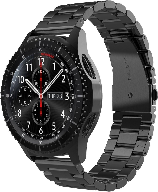 Simpeak Correa Compatible con Samsung Gear S3 Reloj, Correa Compatible para Samsung Galaxy Watch (46mm) Acero Inoxidable Banda de Reemplazo Tres Hebilla de Cuentas Correa-Negro