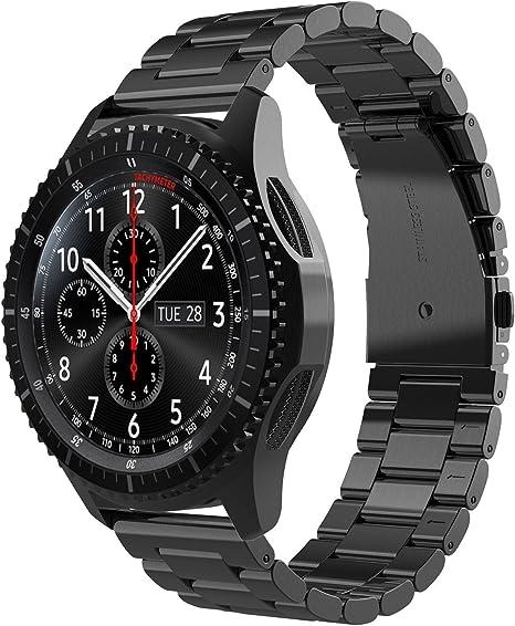 Simpeak Correa Compatible con Samsung Gear S3 Reloj, Correa Compatible para Samsung Galaxy 46mm/Gear S3 Frontier/Classic Sport Smartwatch Acero Inoxidable Banda-Negro: Amazon.es: Electrónica