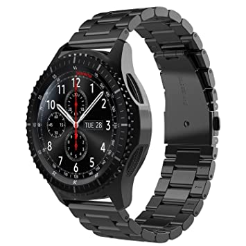 Simpeak Correa Compatible con Samsung Gear S3 Reloj, Correa Compatible para Samsung Galaxy Watch (46mm) Acero Inoxidable Banda de Reemplazo Tres ...