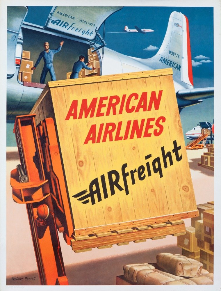 American Airlines – Airfreightヴィンテージポスター(アーティスト: Pursell ) USA 12 x 18 Art Print LANT-59082-12x18 B017Z76CAW  12 x 18 Art Print