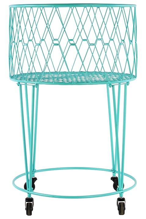 Amazon.com: Urban Trends Metal Round Laundry Basket with Diagonal ...
