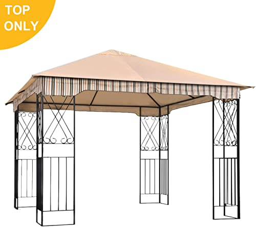 ABCCANOPY Garden Gazebo Replacement Canopy 10 x 10 Soft Top for 10 x 10 Gazebo Model L-GZ730PST-C1 Beige only Roof