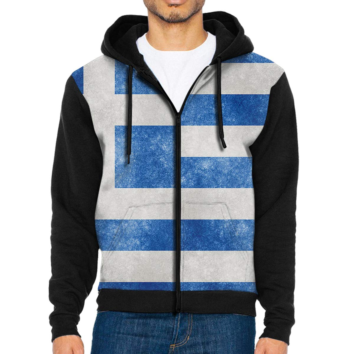 HEHE TAN Men Pullover Hood Greece Flag Zip Hoodies Hooded Casual Jackets Coats