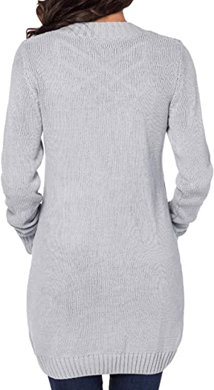 Zereesa C/árdigan de Mujer Prendas de Vestir Camisa de Punto de Manga Larga Abrigo S-XXL c/árdigan Informal Sudadera de Punto Abrigo de Manga Larga