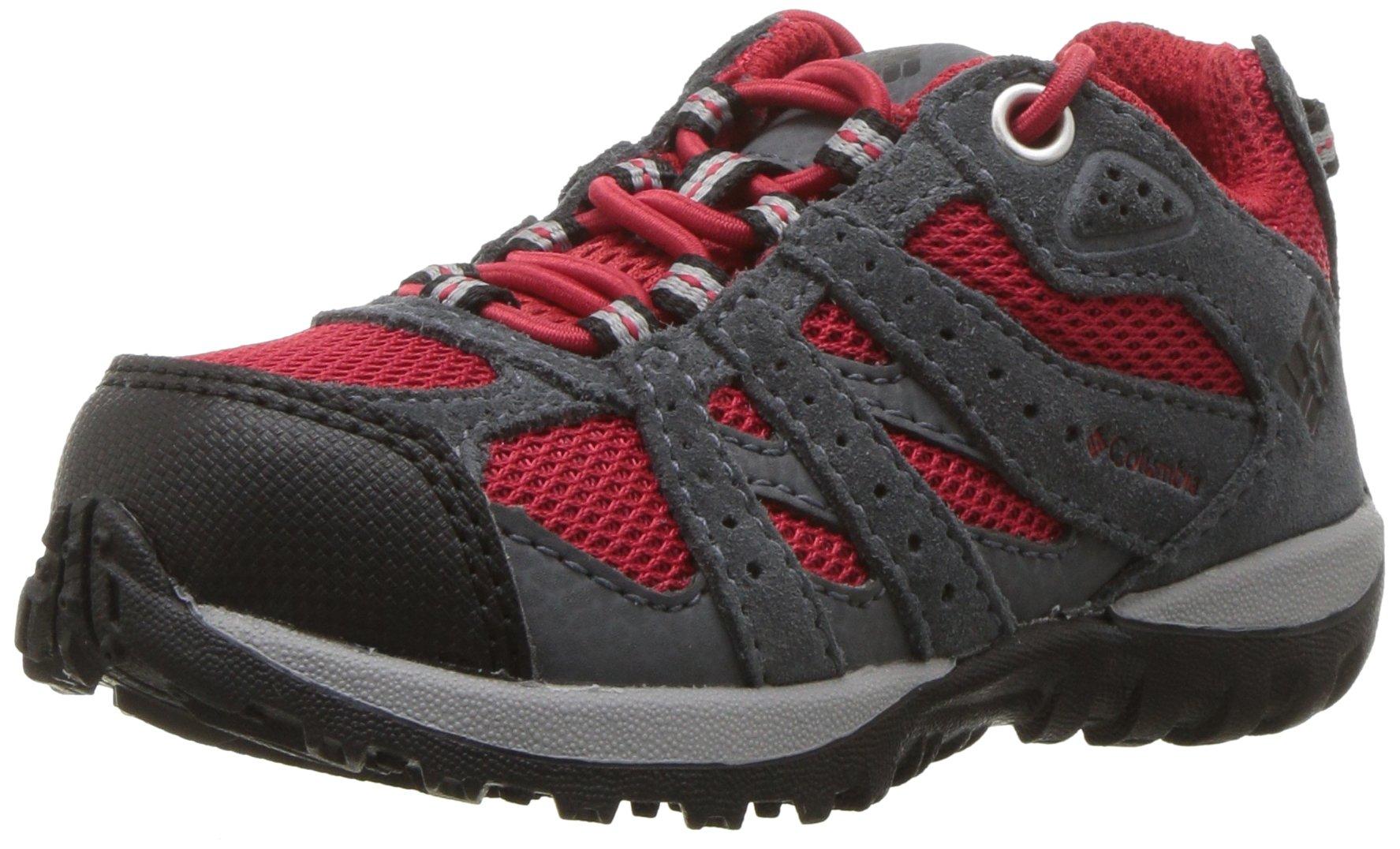 Columbia Unisex Childrens Redmond Waterproof Hiking Shoe, Mountain red, Black, 11 Regular US Little Kid